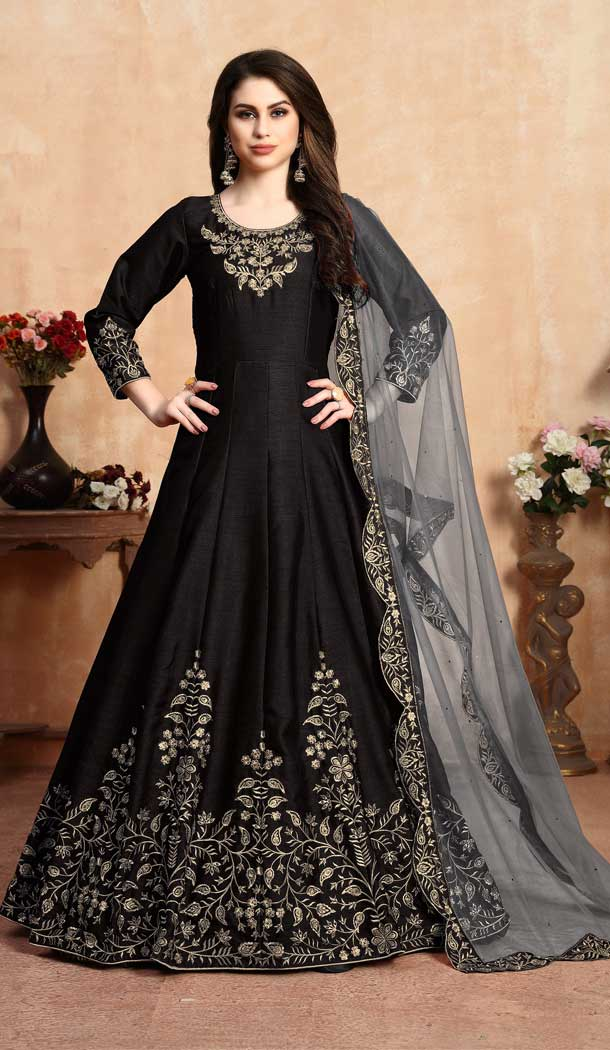 Black Color Art Silk Floor Length Designer Anarkali Salwar Kameez -pf75745529