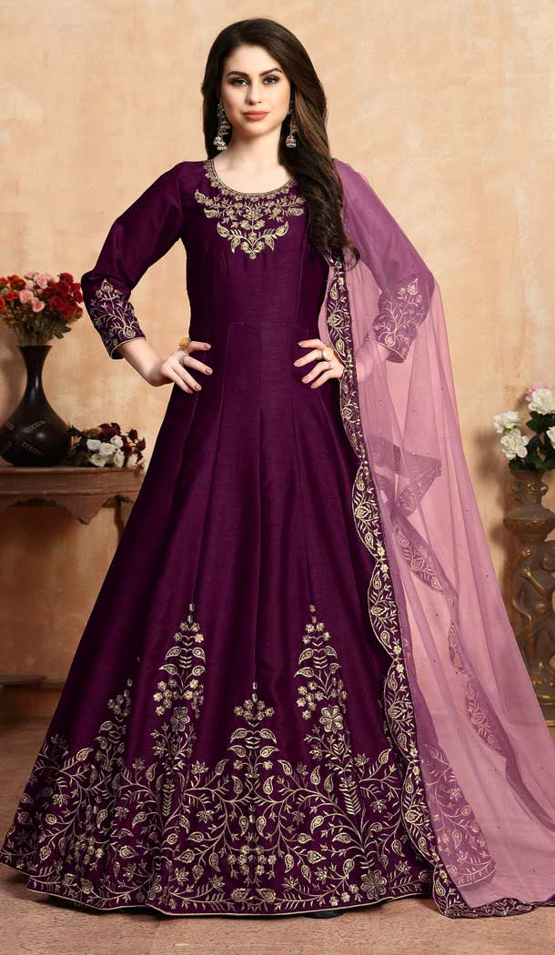 Ethnic Wine Color Art Silk Floor Length Designer Anarkali Salwar Kameez -pf75745530