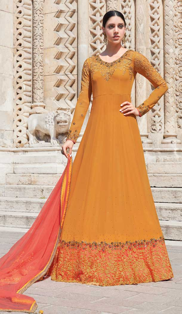 Musturd Yellow Color Georgette Anarkali Plus Size Salwar Suit -pf76145835