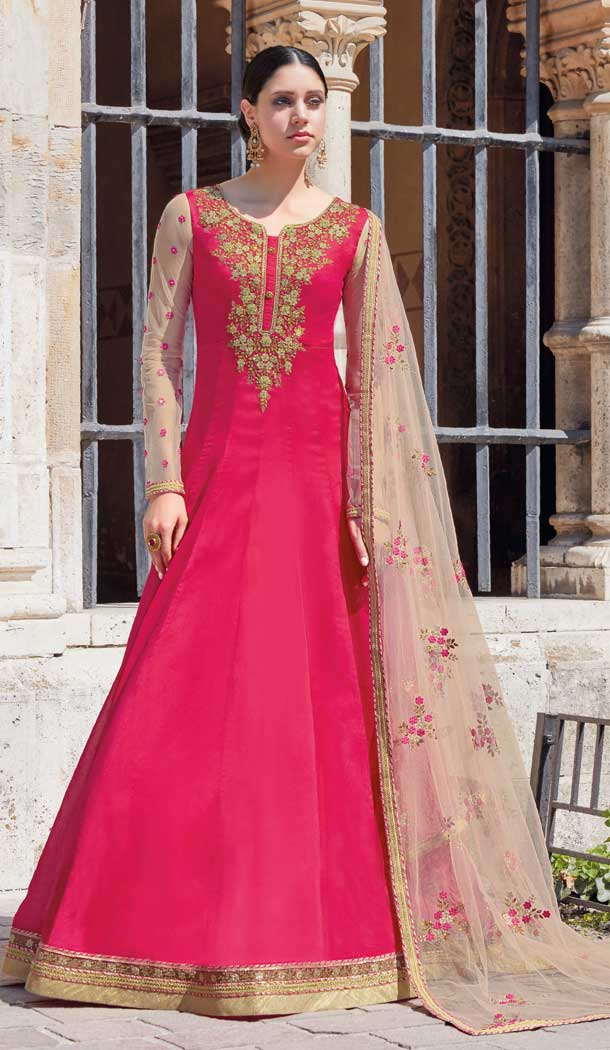 Rani Pink Color Georgette Anarkali Plus Size Salwar Suit -pf76145836