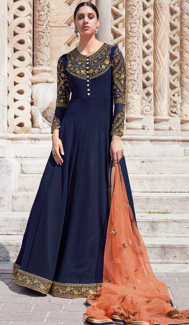 Navy Blue Color Georgette Anarkali Plus Size Salwar Suit -pf76145839