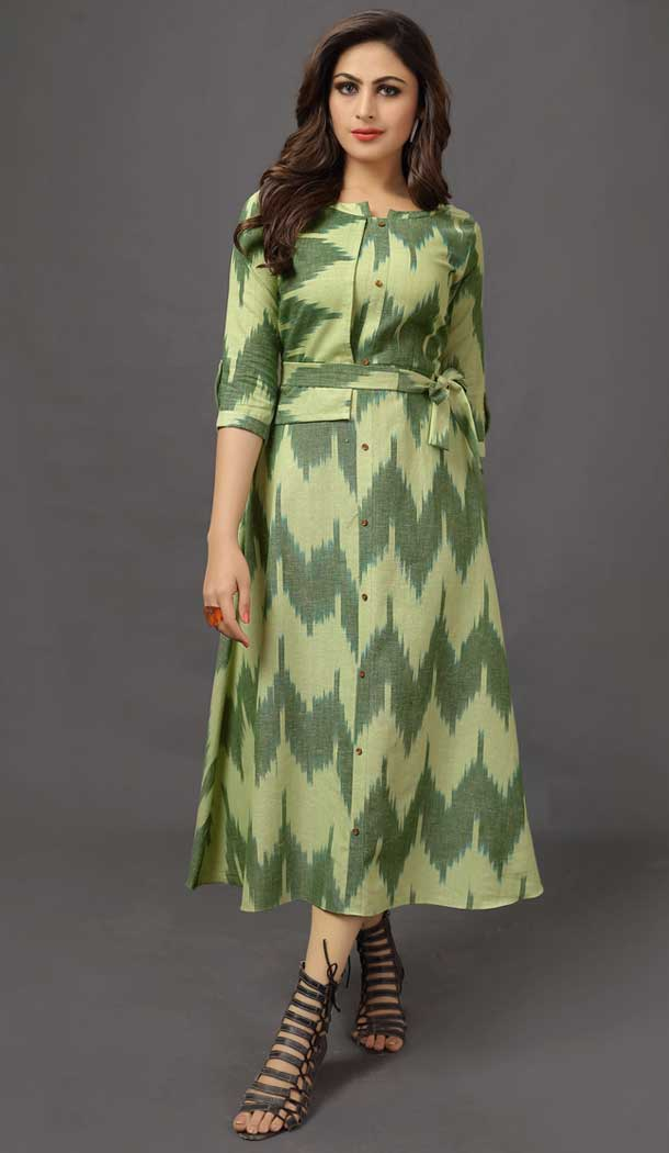 Dazzling Diva Green Color Cotton Designer Readymade Party Kurtis -pf76055787