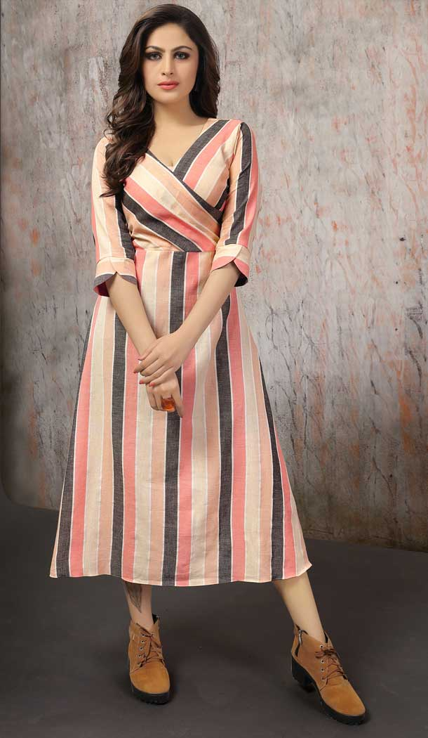 Melodic Peach Color Cotton Designer Readymade Party Kurtis -pf76055790