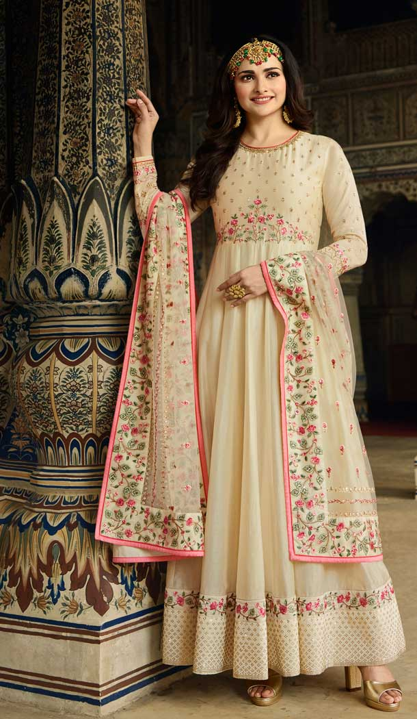 Cream Color Soft Silk Bollywood Celebrity Prachi Desai Salwar Kameez -pf76406103
