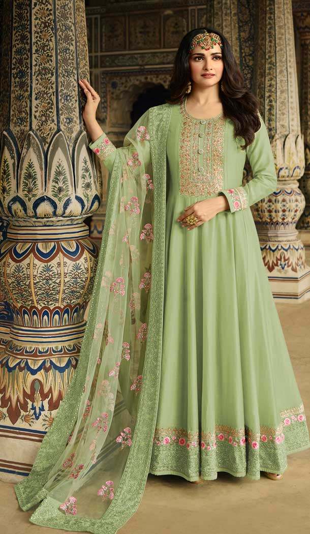 Light Green Color Soft Silk Bollywood Celebrity Prachi Desai Salwar Kameez -pf76406105