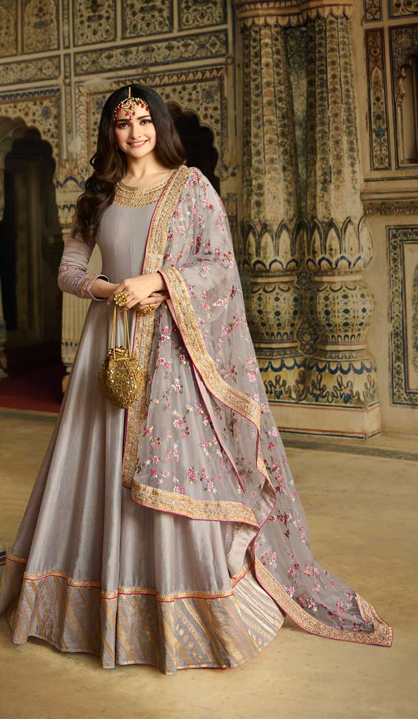 Grey Color Soft Silk Bollywood Celebrity Prachi Desai Salwar Kameez -pf76406106