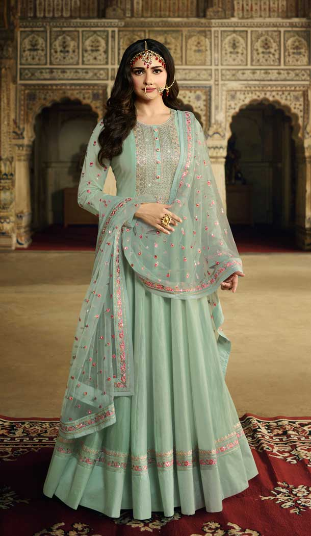 Aqua Blue Color Soft Silk Bollywood Celebrity Prachi Desai Salwar Kameez -pf76406107