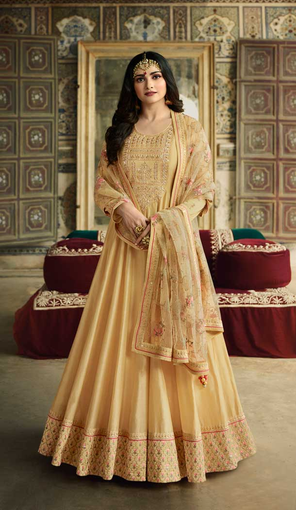 Light Yellow Color Soft Silk Bollywood Celebrity Prachi Desai Salwar Kameez -pf76406108