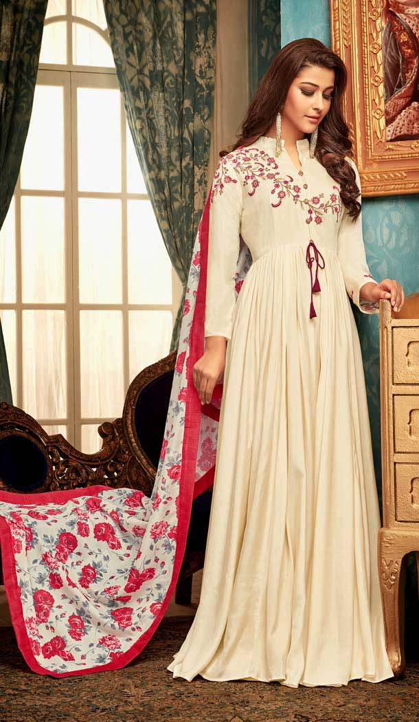 Cream Color Muslin Designer Party Wear Readymade Gown -pf76346037