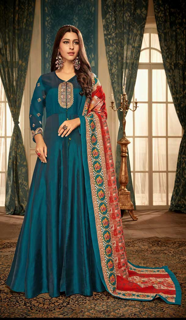 Blue Color Satin Georgette Designer Party Wear Readymade Gown -pf76346040