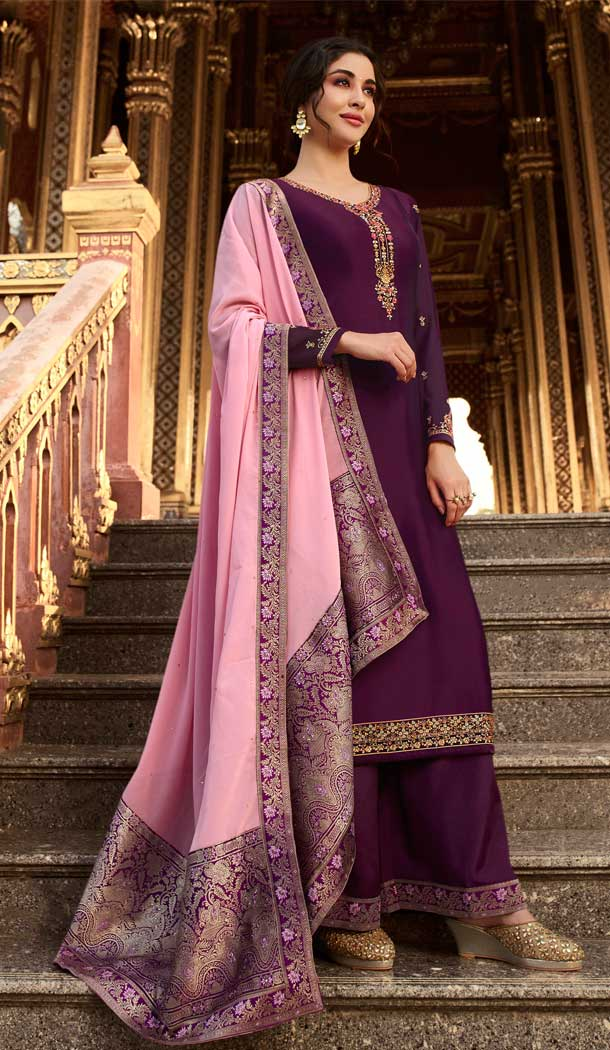 Purple Color Satin Georgette Party Wear Palazzo Salwar Suit -pf76556267