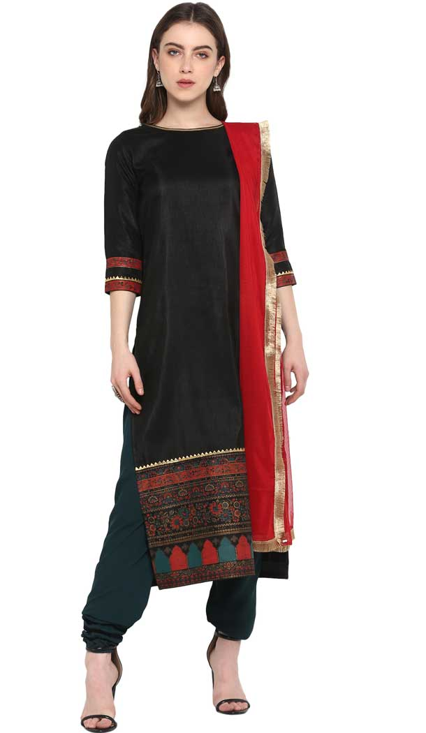 Elegant Black Color Poly Silk Party Wear Readymade Salwar Kameez -pf76576275