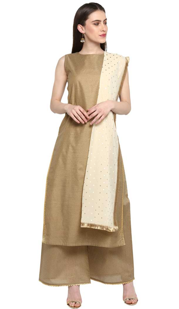 Adorable Beige Color Chanderi Party Wear Readymade Salwar Kameez -pf76576277