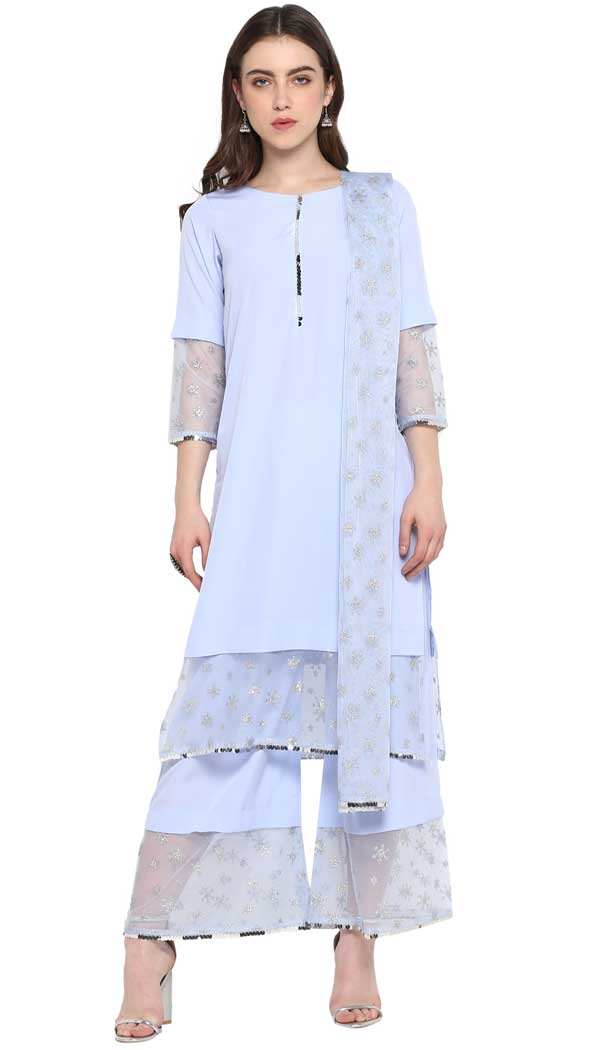 Baby Blue Color Crepe Party Wear Readymade Salwar Kameez -pf76576280