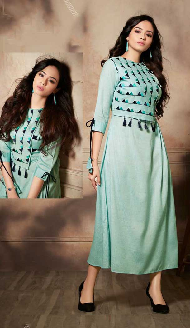 Sea Green Color Handloom Rayon Party Wear Readymade Kurti -pf76646322