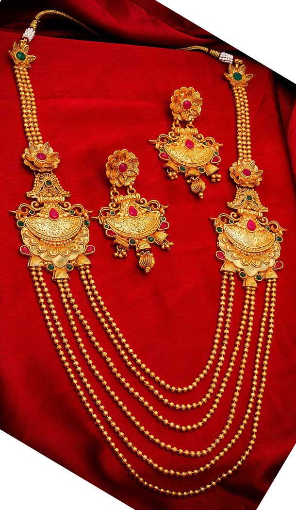 Adorable Gold Plated Alloy Designer Imitation Necklace Set -718589105