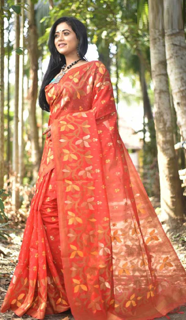 Dazzling Diva Red Color Fancy Cotton Casual Party Wear Saree -EV540271383