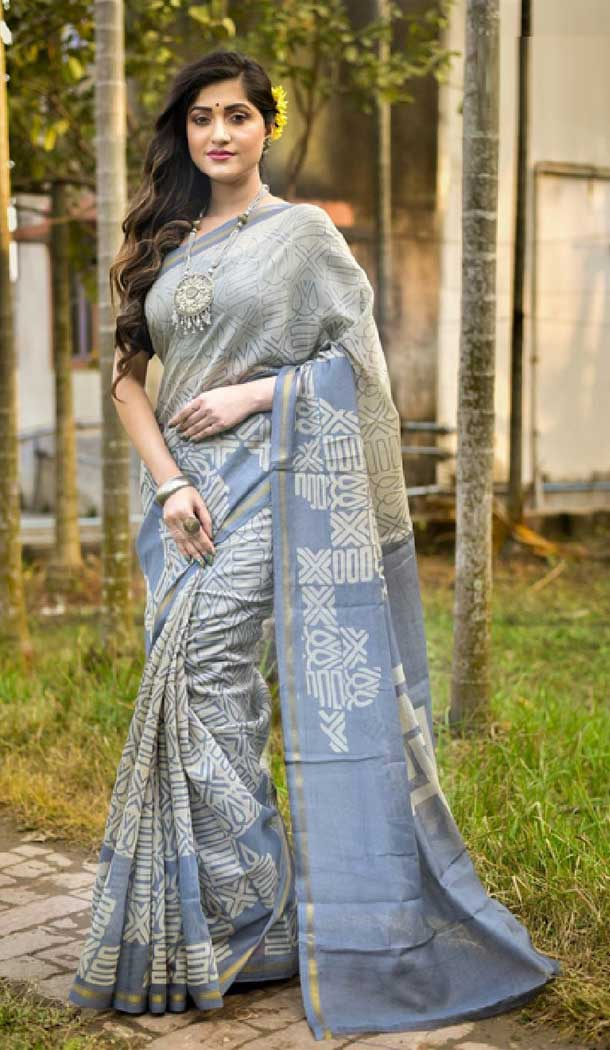 Style Light Grey Color Fancy Cotton Casual Party Wear Saree -EV540271386