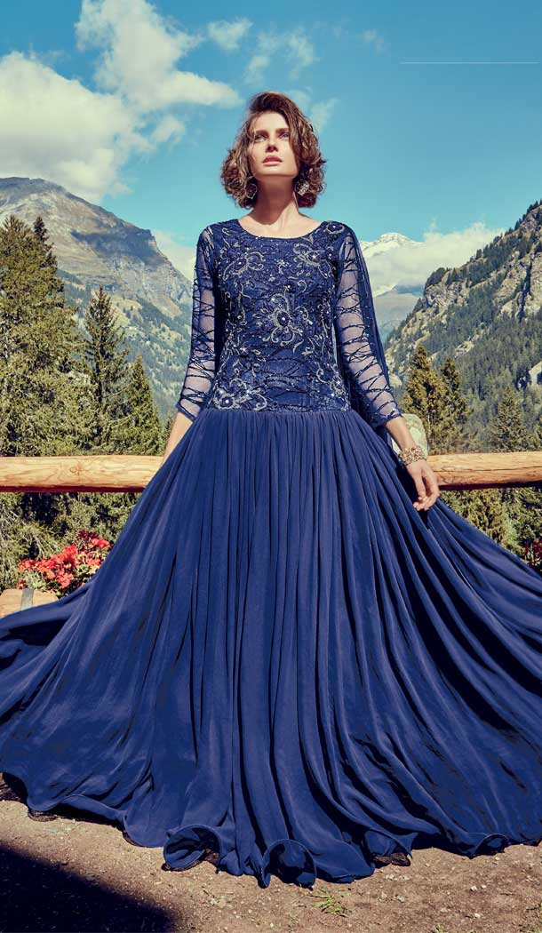Navy Blue Color Net Georgette Designer Party Gown Dresses -EV544171658