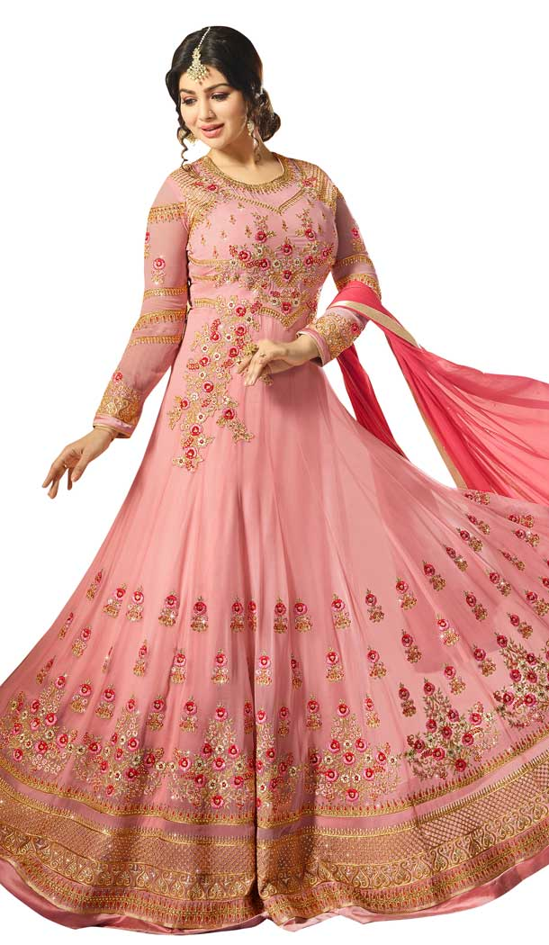 Bollywood Celebrity Ayesha Takia Pink Color Faux Georgette Salwar Kameez -EV545471749