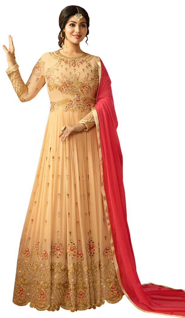 Bollywood Celebrity Ayesha Takia Beige Color Faux Georgette Salwar Kameez -EV545471750
