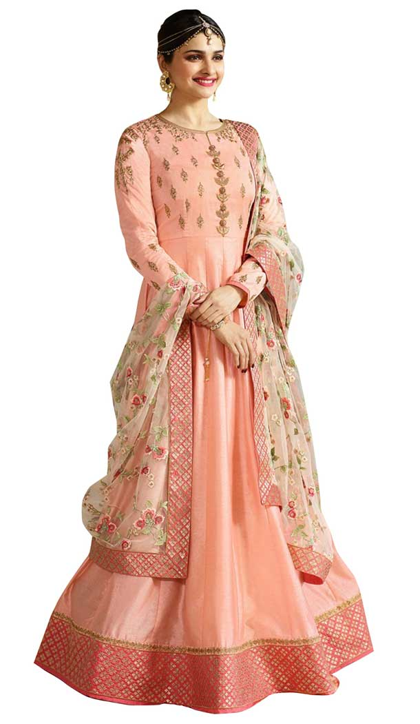 Bollywood Celebrity Prachi Desai Peach Color Faux Georgette Salwar Kameez -EV545471751