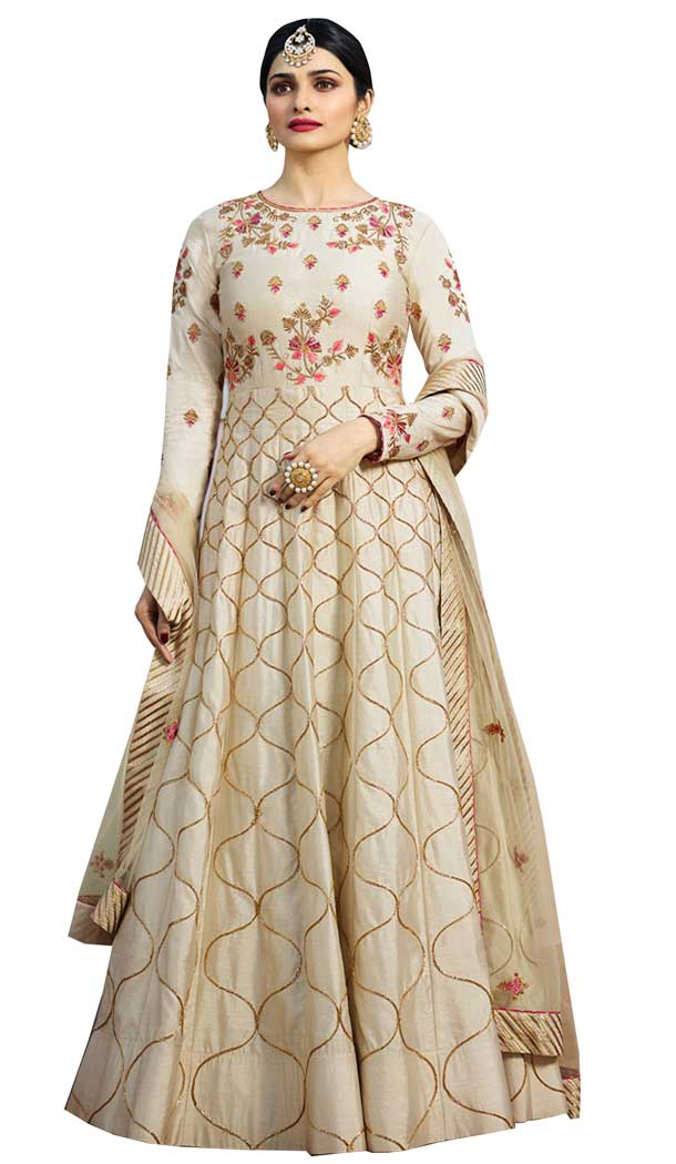 Bollywood Celebrity Prachi Desai Beige Color Chennai Silk Salwar Kameez -EV545471752