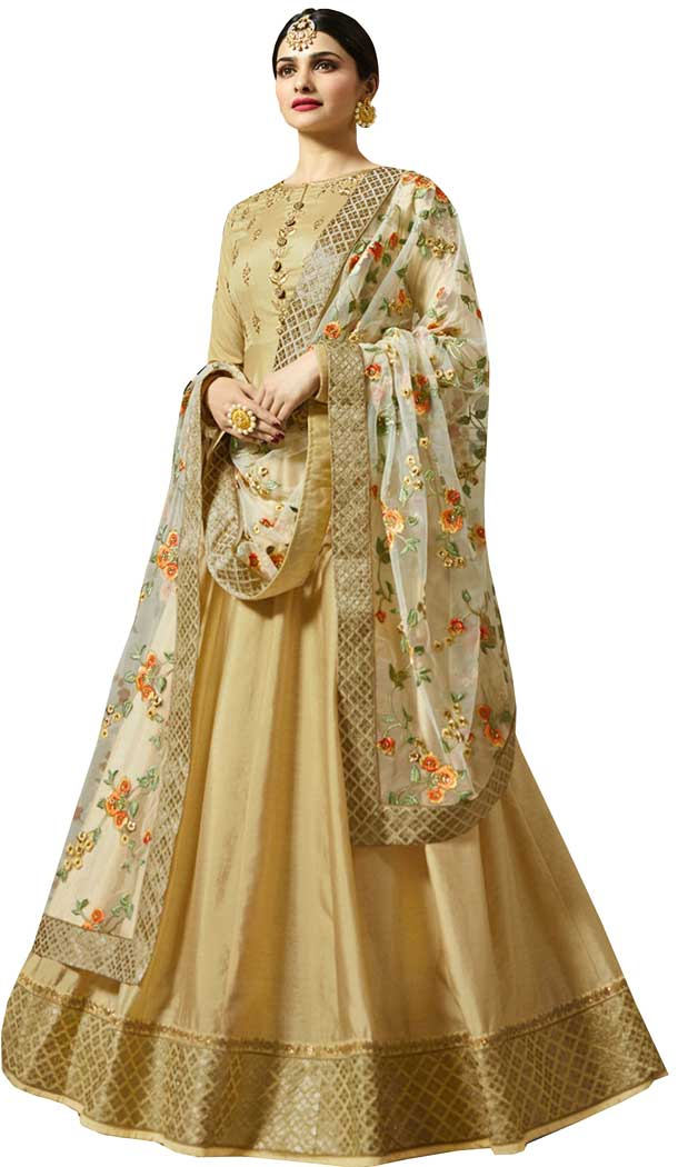 Bollywood Celebrity Prachi Desai Beige Color Faux Georgette Salwar Kameez -EV545471753