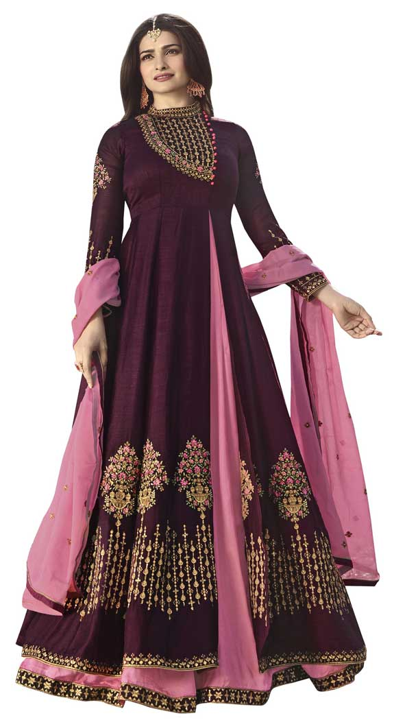 Bollywood Celebrity Prachi Desai Rani Color Viscose Satin Salwar Kameez -EV545471754