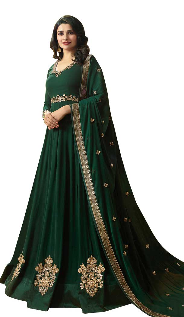 Bollywood Celebrity Prachi Desai Green Color Faux Georgette Salwar Kameez -EV545471755
