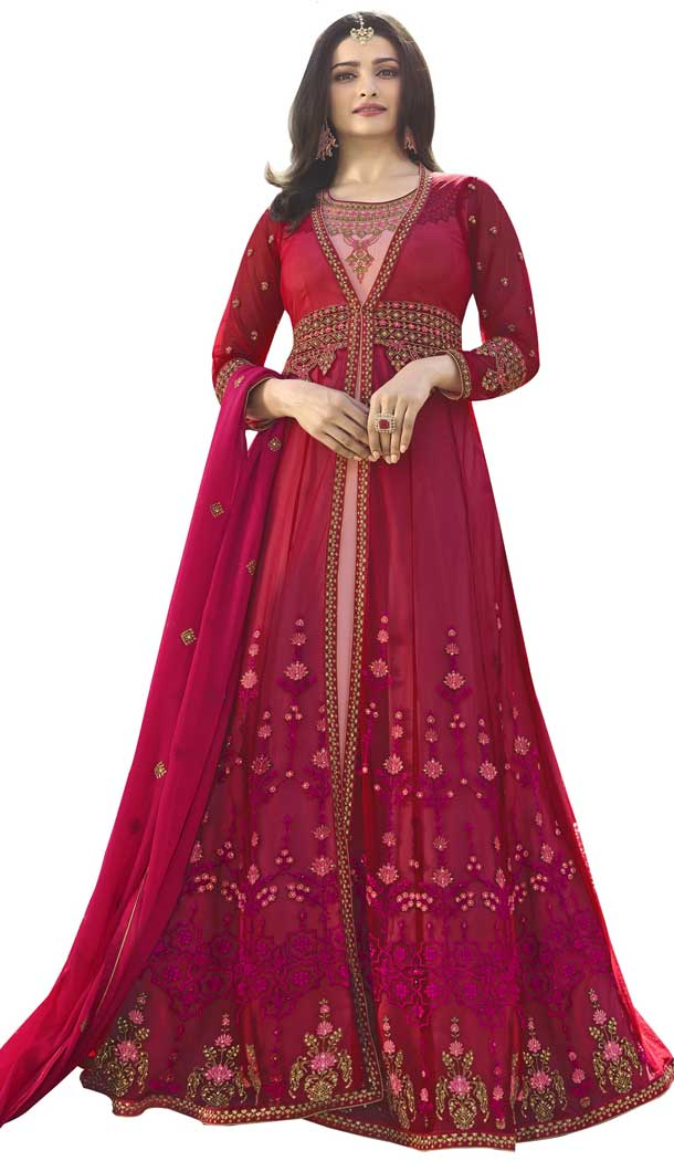 Bollywood Celebrity Prachi Desai Dark Pink Color Nylon Net Salwar Kameez -EV545471757