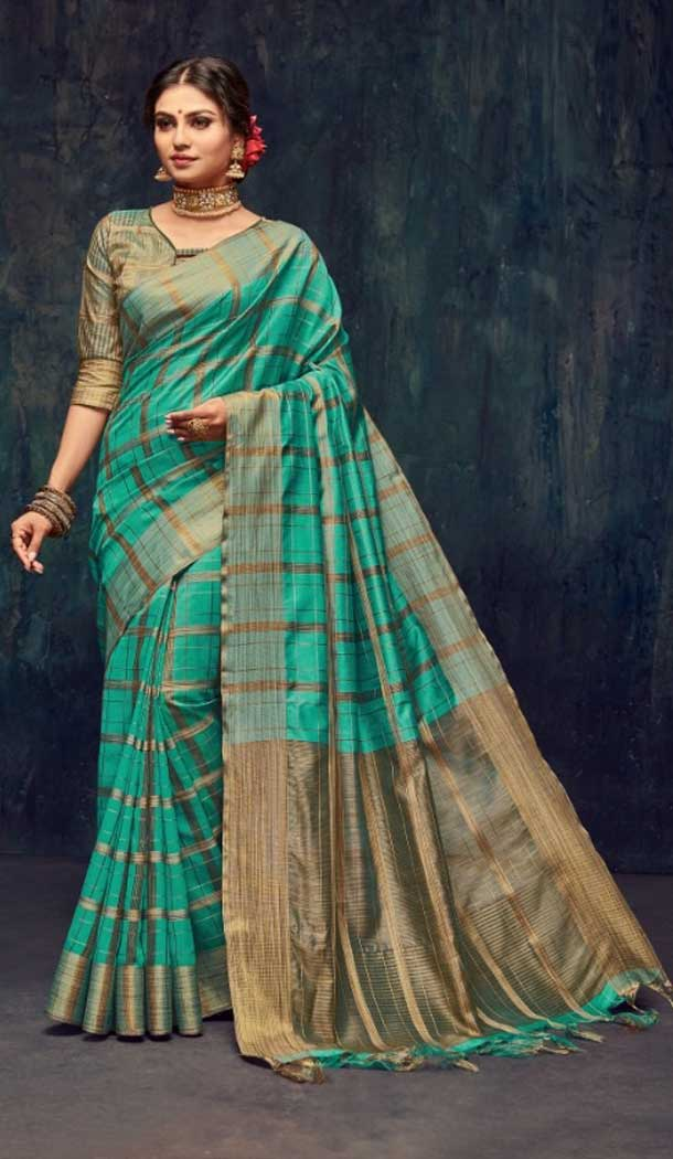 Teal Blue Color Silk Casual Wear Saree Blouse -EV545071728