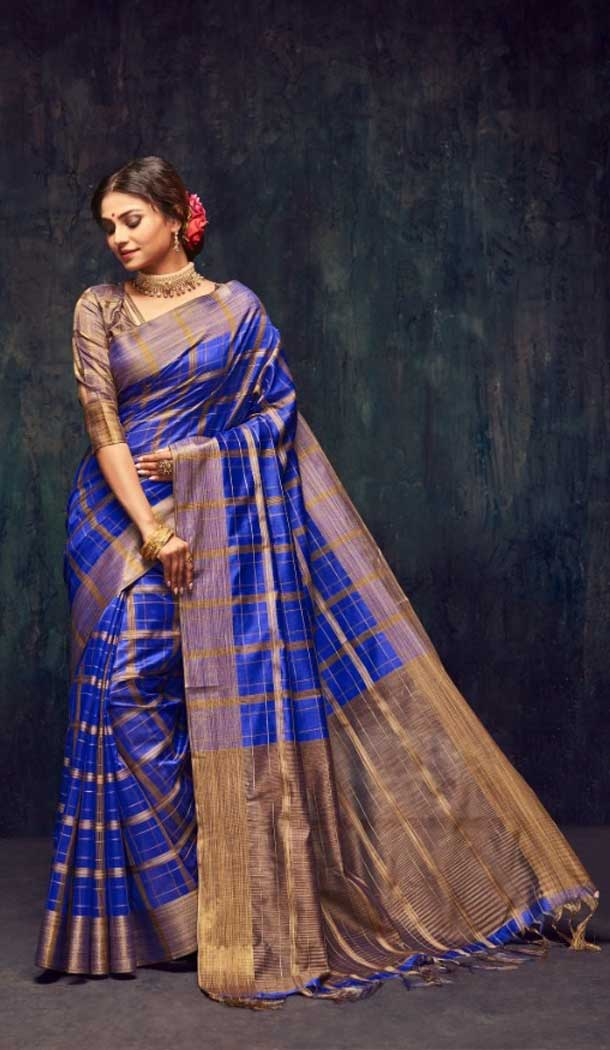 Royal Blue Color Silk Casual Wear Saree Blouse -EV545071731