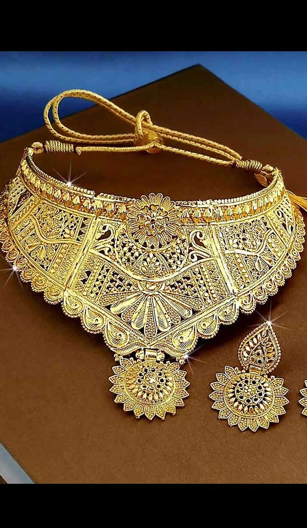 Adorable Traditional Gold Smith  Imitation Jewellery-Wedding Wear Necklace Set -745892225