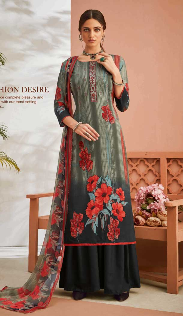 Tantalizing Multi Color Pure Viscose Rayon Casual Wear Palazzo Suit -771894819