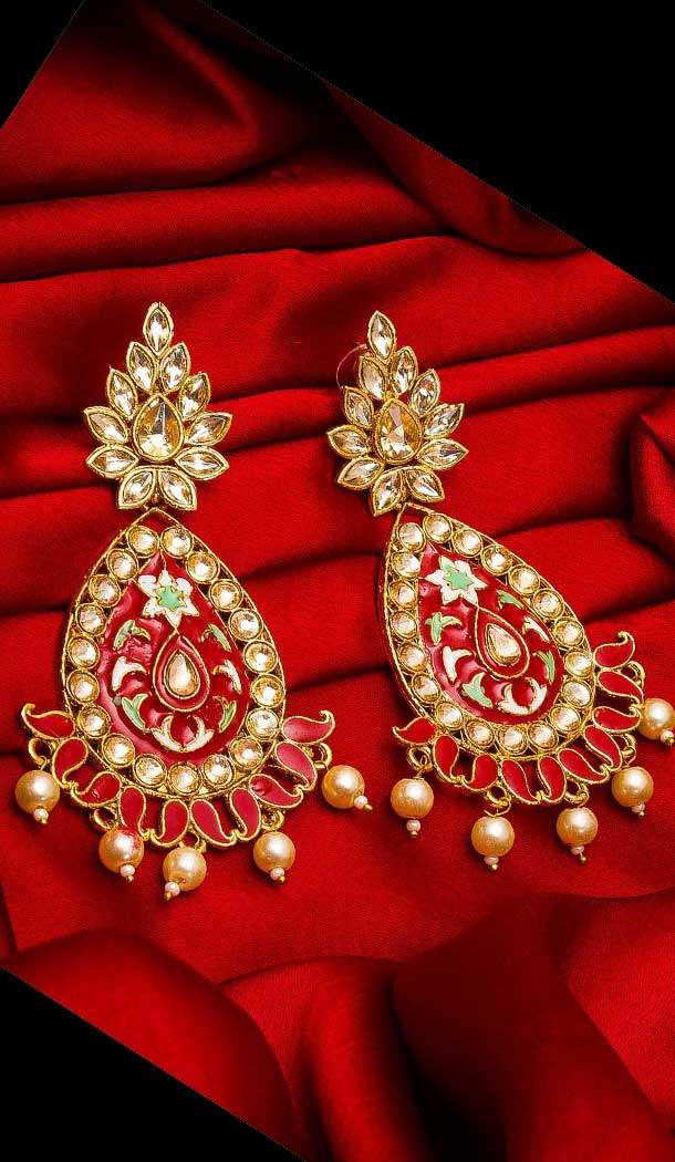 Magnificient Red Color Alloy Imitation Fashion Earring -758393571
