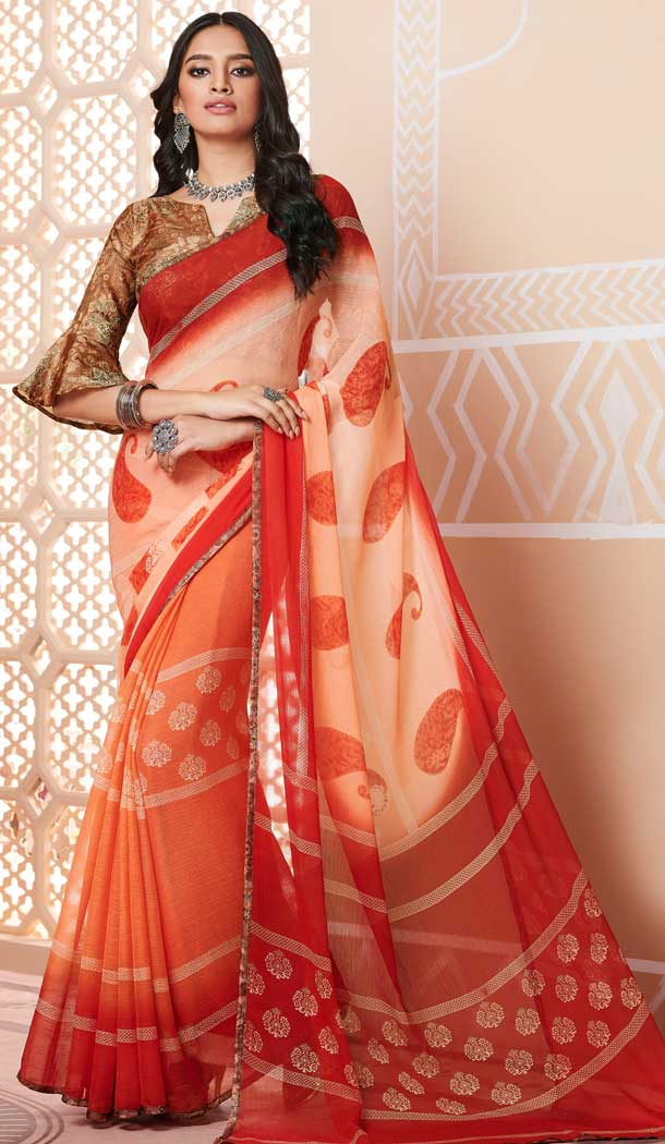 chiffon digital printed work saree surat