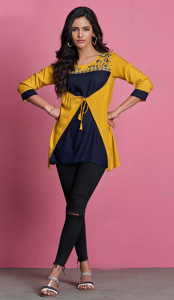 Blue Yellow Color 14KG Heavy Rayon Readymade Short Kurti -722389531