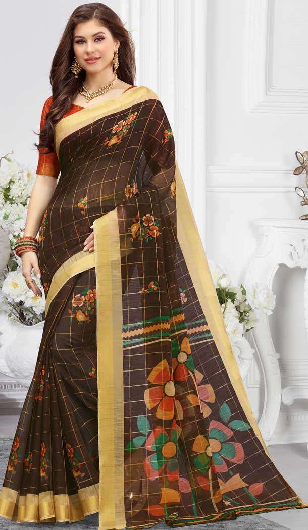 linen digital printed cotton casual wear sarees -747092338