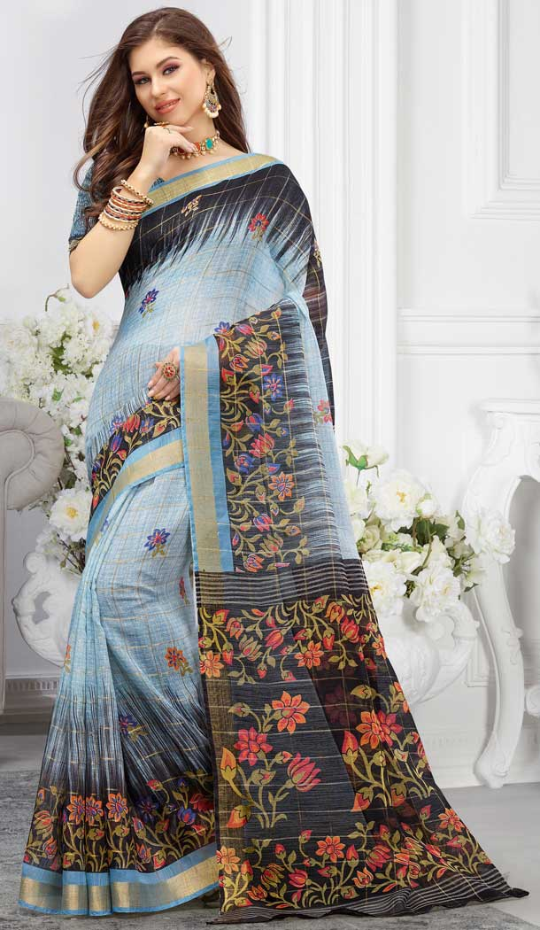 Vivacious Multi Color Cotton Floral Printed Casual Wear Saree -747092342