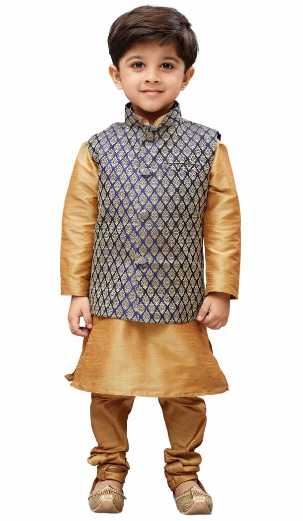 Styled Golden Color Cotton Silk Readymade Boy Kurta Pajama With Jacket -PF67427390