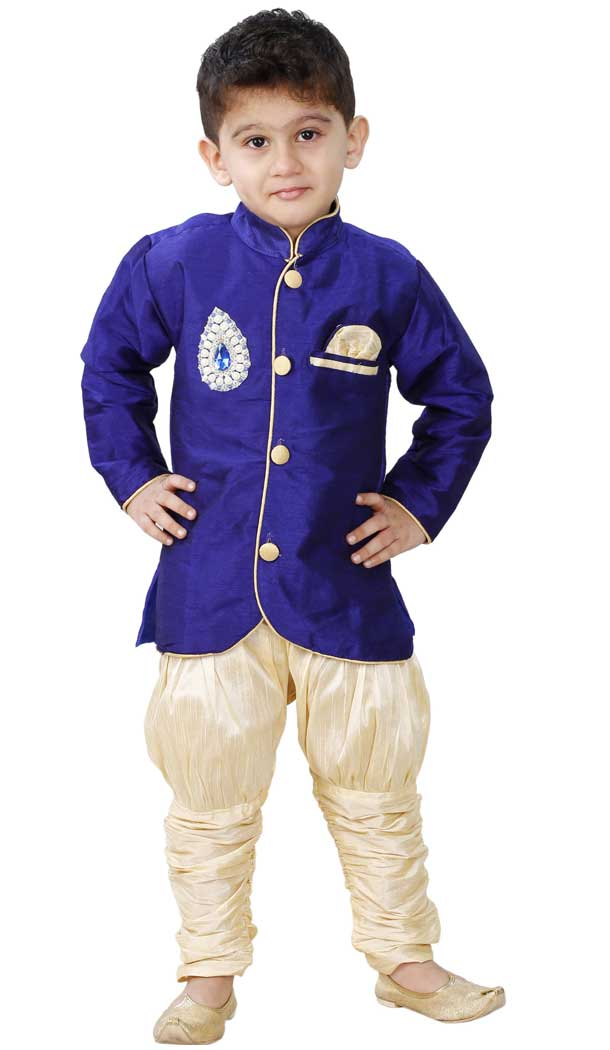 Royal Blue Color Cotton Silk Readymade Indo Western For Kids Boys -PF67477427