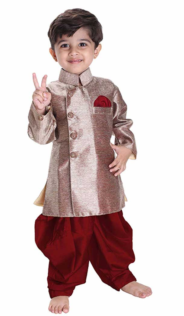 Styled Rose Gold Color Cotton Blend Readymade Indo Western For Kids Boys -PF67477431