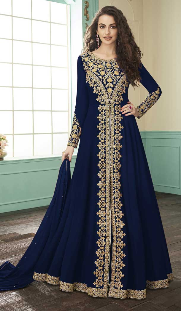 Navy Blue Color Georgette Designer Long Pakistani Salwar Kameez -FZ6415231