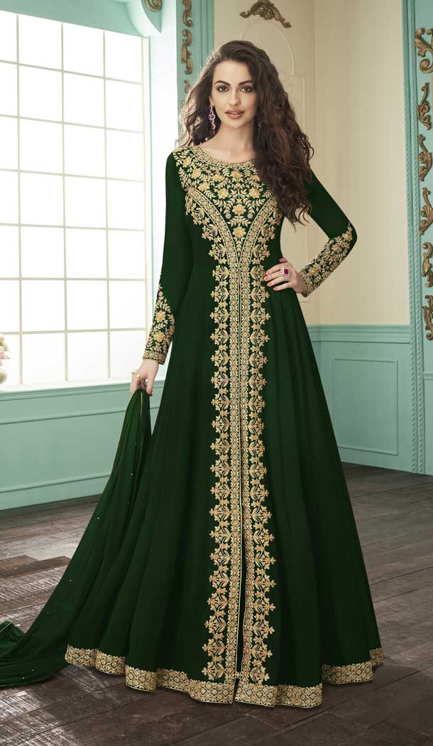 Glamorous Green Color Georgette Designer Long Pakistani Salwar Kameez -FZ6415232