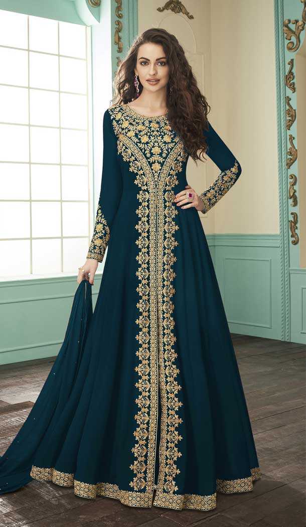 Bottle Green Color Georgette Designer Long Pakistani Salwar Kameez -FZ6415235