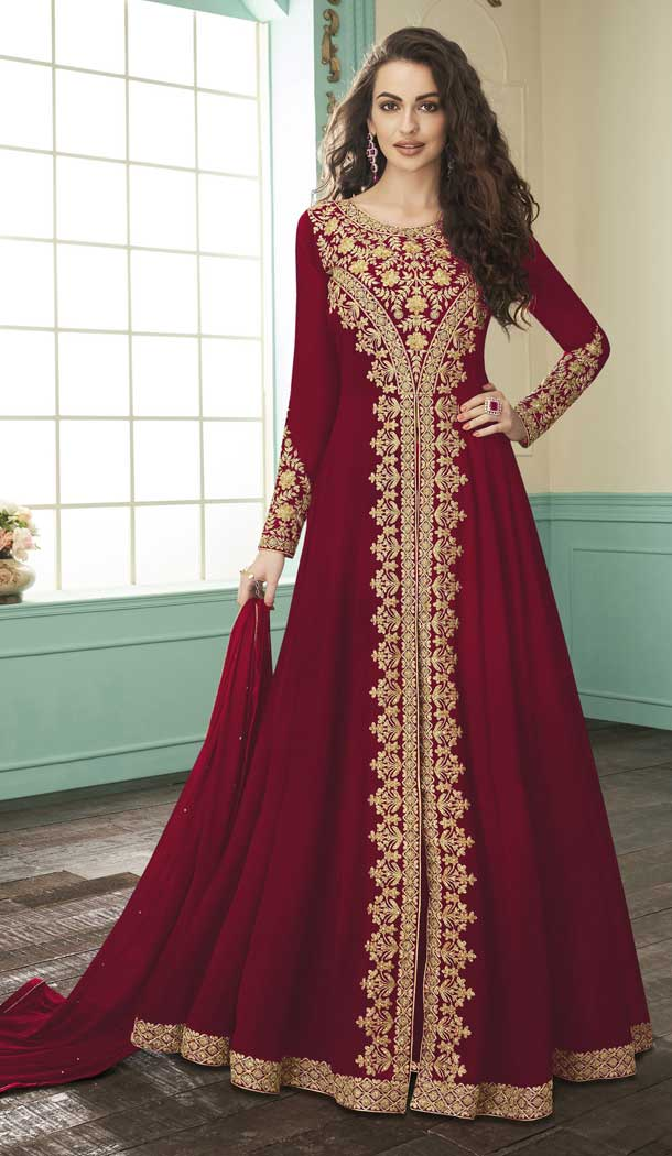 Chic Red Color Georgette Designer Long Pakistani Salwar Kameez -FZ6415236
