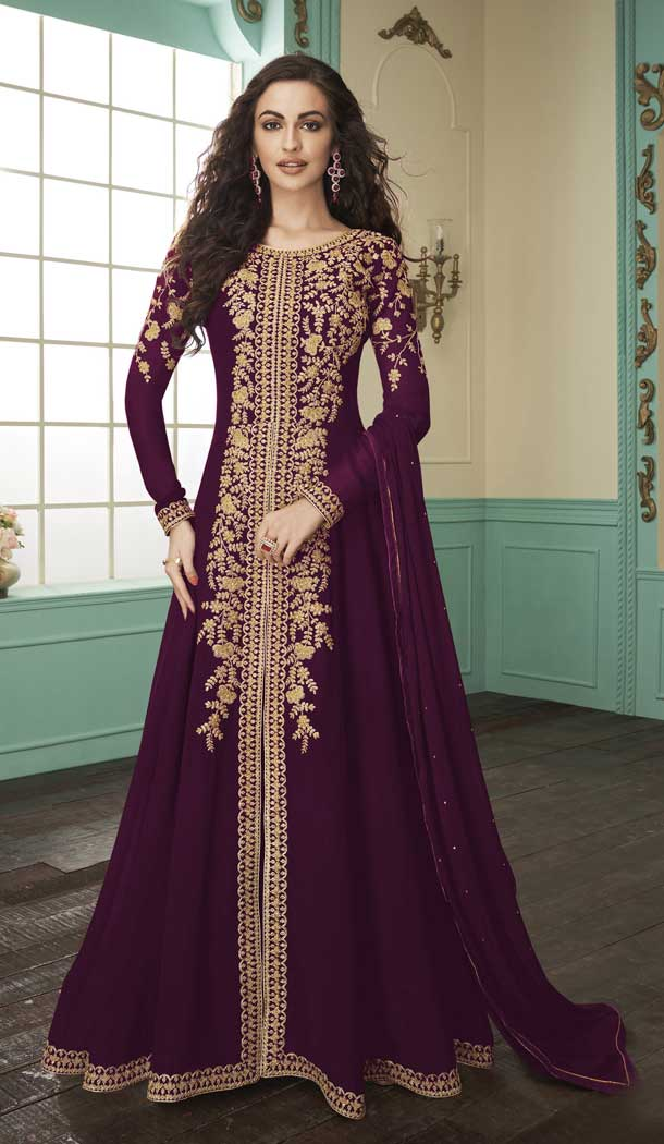 Purple Color Georgette Designer Pakistani Salwar Kameez -FZ6425240