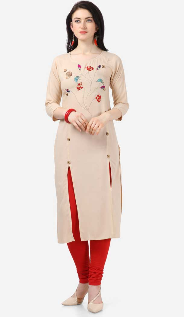 Alluring Cream Color Heavy Rayon Designer Readymade Kurti -743792005
