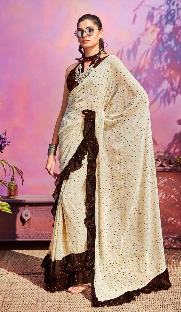 Tantalizing Cream Brown Color Georgette Casual Wear Saree Blouse -EV545771771